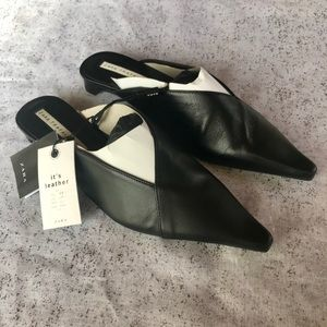 Zara black leather flats/slides size 8 NWT